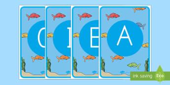 Tarjetas de fonemas: Bajo el mar - Bajo el mar, proyecto, lecto, lecto-escritura, leer, lectura, sonidos iniciales, fonemas