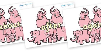 KS1 Keywords on Five Elephants - KS1, CLL, Communication language and literacy, Display, Key words, high frequency words, foundation stage literacy, DfES Letters and Sounds, Letters and Sounds, spelling