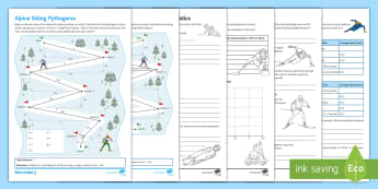 Winter Olympics Maths Activity Pack - bumper, collection, resources, pack, events, Pythagoras, trigonometry, FDP, percentages, statistics