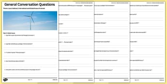 Global Issues Themed General Conversation Questions Activity Sheet French - Speaking, Environment, Environnement, Planet, Planète, Energy, énergie, Recycling, Recyclage, Poverty, Pauvreté, Homeless, SDF, Sans-abri