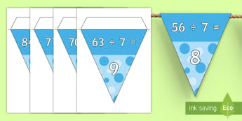 7, 9 and 12 Times Table Division Facts Display Bunting - 7, 9 and 12 Times Table Division Facts Display Bunting- 7, 9, 12, division, divison, dicision, bunti