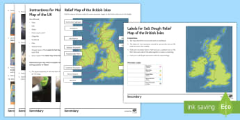 Geography Department Prospective Parents' Evening: Salt Dough Relief Map of the British Isles Activity Sheet - Geography, KS3, Relief Map, Salt Dough, Mountains, Worksheet
