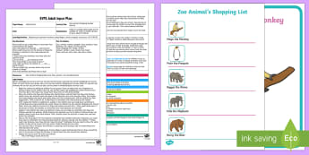 EYFS Zoo Animal's Shopping Number Activity Adult Input Plan and Resource Pack - Maths, Number, Represent, Fingers, Marks, Pictures, Dots, Tally, Draw, Counting, Amount, Zoo, Animal