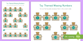 Toy Themed Missing Numbers Activity Sheet - Math Activity Sheet, Number Recognition, Rote Counting, Number Skills, Toys and Games Unit, Toy unit