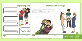 Improving Friendships Activity Sheet - PSHCE, transition, friendship, emotions, behaviour,