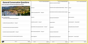 Travel and Tourism Themed General Conversation Questions Worksheet / Activity Sheet French - GCSE, Speaking, Holidays, transport, vacation, Vacances, Voyage, Tourisme