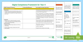 Digital Competence Framework Year 4 Planning Template