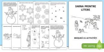 Iarna printre litere Broșură cu activități - iarna, broșură, activități, litere, alfabet, clasa pregătitoare, jocuri, Romanian