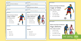 Hobbies Translation Challenge Cards Spanish - sentence, building, translating, group, pairs, work, adapt,
