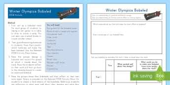 Winter Olympics Bobsled STEM Activity - Science, Technology, Engineering, Math, Physics, South Korea, Energy, Friction, Hands-on learning, p