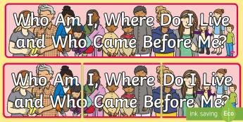 Who Am I, Where Do I Live and Who Came Before Me? Display Banner - Australian History, Australian Families ,Australia