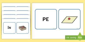 Cuvinte care exprimă locul Cartonașe pereche - prepoziția, prepoziții de loc, comunicare orală, română, activități, ,Romanian