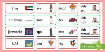 National Day Word Cards - UAE National Day, National Day, UAE Holidays, UAE Celebrations, UAE