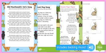 Pets Songs and Rhymes Resource Pack - EYFS Pets, Animals, National Pet Month, singing, song time, dogs, pets, vets, rabbits