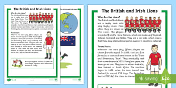 KS1 Lions Rugby Tour Differentiated Fact File - KS1, Key Stage One, Key Stage 1, Year 1, Year One, Year 2, Year Two, Rugby, Rugby Union, Rugby Tour,