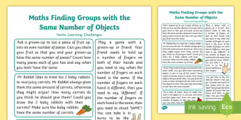 EYFS Maths: Compares Two Groups of Objects Home Learning Challenges - Mathematics, Early years, EYFS, Home learning, number, count, counting, home learning, home school l