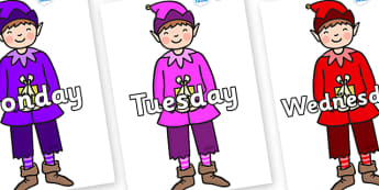 Days of the Week on Boy Elves (Multicolour) - Days of the Week, Weeks poster, week, display, poster, frieze, Days, Day, Monday, Tuesday, Wednesday, Thursday, Friday, Saturday, Sunday