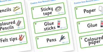 Dinosaur Themed Editable Creative Area Resource Labels - Themed creative resource labels, Label template, Resource Label, Name Labels, Editable Labels, Drawer Labels, KS1 Labels, Foundation Labels, Foundation Stage Labels