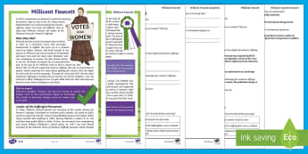 KS2 Millicent Fawcett Differentiated Reading Comprehension Activity - Suffragist, Equality, Campaign, Votes for Women, Parliament