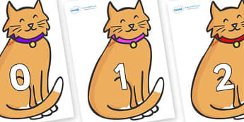 Numbers 0-31 on Pussy Cats - 0-31, foundation stage numeracy, Number recognition, Number flashcards, counting, number frieze, Display numbers, number posters