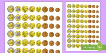 Ficha de actividad: Monedas para recortar - dinero, monedas, euros, céntimos, moneda, euro, recortar, juego, punzar, imagen, imágenes,,Spanish
