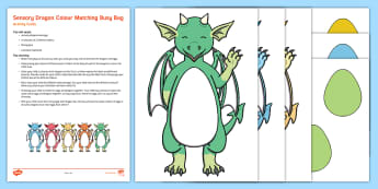 Sensory Dragon Colour Matching Busy Bag Resource Pack for Parents - zog, fabric, knights, tactile, fantasy