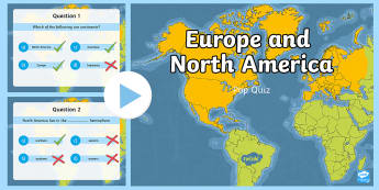 Europe and North America PowerPoint Pop Quiz  - ACHASSK111, Year 5, AC, Geography, prior knowledge, formative assessment,Australia