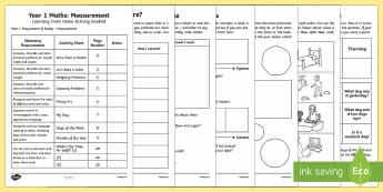 Year 1 Maths Measurement Learning From Home Activity Booklet