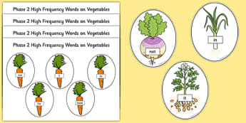 Phase 2 High Frequency Words on Vegetables Word Cards
