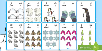 Winter Themed Number with Words & Numbers (1 - 10) Display Posters English/Mandarin Chinese/Pinyin - numeracy. numbers, numbers to 10, number names, Winter, numeracy, counting, number poster, number wo