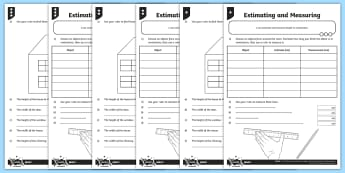 Estimating and Measuring in Centimetres Differentiated Activity Sheets - measurement, length, estimate, centimetres, millimetres, half centimetres