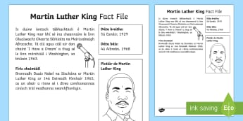 Martin Luther King Significant Individual Fact File - Gaeilge - Martin Luther King, civil rights movement, human rights, African American, Nobel Peace Prize, Gluais