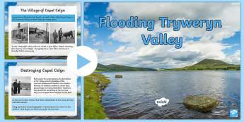 The Flooding of Tryweryn PowerPoint - Tryweryn, Valley, Cwm, dyffryn, dwr, Lerpwl, Capel Celyn, ysgol, Capel, mynwent, carcharu, pentref,