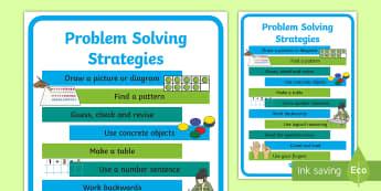 Problem Solving Strategies Display Poster - maths, strategies, posters, problem solving, hints, tips,Irish