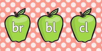 Blends and Clusters on Green Apples - blends, clusters, green, apples, phonems