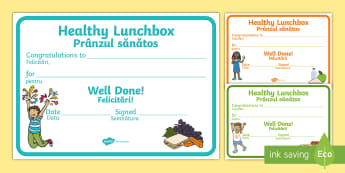 Healthy Lunchbox Certificates English/Romanian - balanced diet, healthy living, healthy eating, healthy eating certificate, food, award certificate,