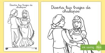 Hoja de colorear: Chulapos - San Isidro, fiestas regionales, hojas de colorear, colorear, diseñar, creatividad, motricidad fina.