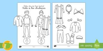 Manualidad: Viste a los chulapos - El día de San Isidro - San Isidro, chulapo, chulapos, chulapa, chulapas, fiesta, Madrid, 15 de mayo,Spanish