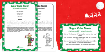 Sugar Cube Tower Christmas Elf Maths Scenario