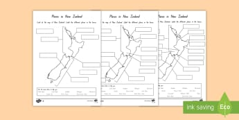 Labelling New Zealand Differentiated Worksheet / Activity Sheets - New Zealand Geography, maps