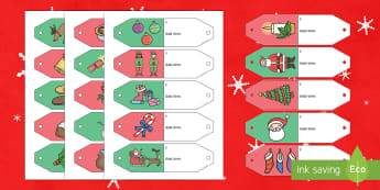 Christmas Themed Gift Tags Display Cut-Outs