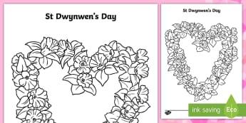 Saint Dwynwen Daffodil Heart Colouring Page - Saint Dwynwen, Daffodil, Heart, Welsh Celebrations, Love