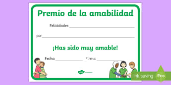 Diploma: Premio de la amabilidad - amabilidad, amable, amigos, amigo, amiga, premio, diploma, cortesía, bondad, gentileza,Spanish