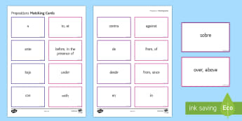 Preposition Matching Cards Spanish