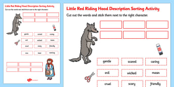 Red Riding Hood Cut Stick Character Description Sorting Activity