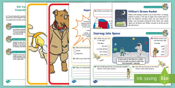 KS1 Journey Into Space Focused Reading Skills Comprehension Pack - Year 1, Year 2, comprehension, understanding, reading dogs, SATs style questions, content domains
