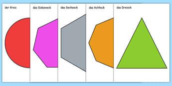 2D Shape A4 Cut Outs German - german, 2d shape, a4, cut outs, 2d, shape