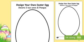 Design an Easter Egg A4 Worksheet / Activity Sheet English/Italian - Design an Easter Egg A4 Worksheet / Activity Sheet - design, creative, craft, worksheet, design an egg, easter d