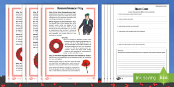 Remembrance Day Differentiated Reading Comprehension Activity - Remembrance Day Differentiated Reading Comprehension - guided reading,  remembrance day, differentia