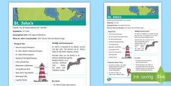 St. John's Fact File  - Canada's 150th Birthday, Social Studies, Geography, Junior, Grade 4, Grade 5, Grade 6, Canada.